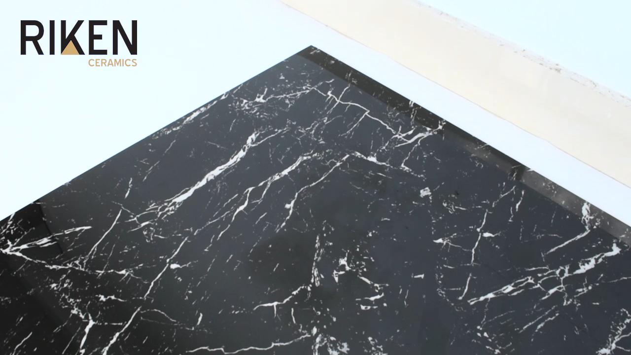 Foshan barato de interior antideslizante 60x60cm negro de porcelana de piso de baldosas de cerámica parece como el mármol
