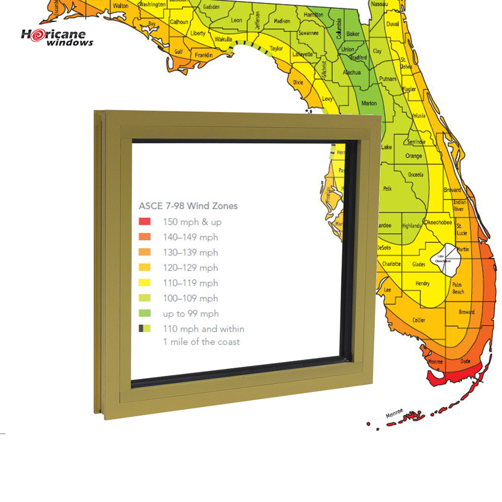 Hurricane miami dade approved square aluminum fixed frame glass panel hurricane windows