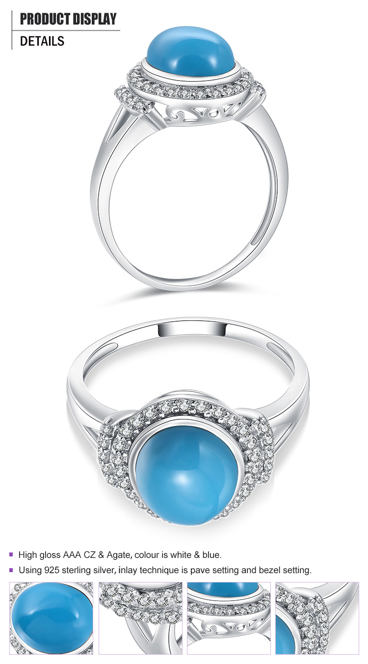 product-Fashion 925 Silver Cluster Setting Cz Blue Agate Druzy Ring-BEYALY-img