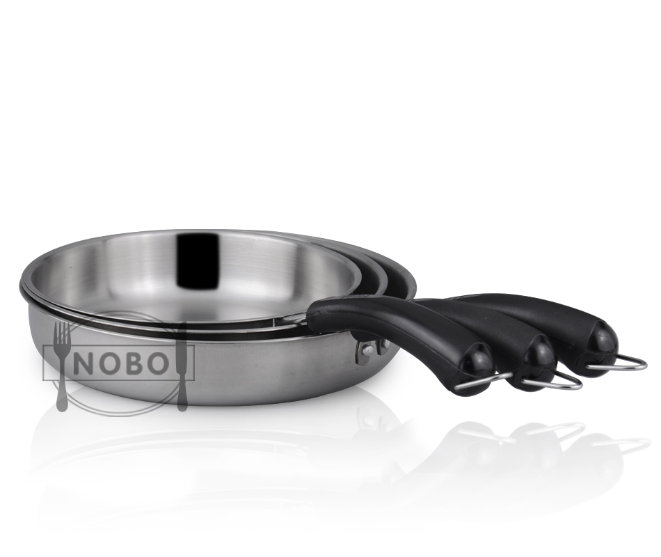 Best quality NOBO flying wok iron saucepans stainless steel skillet pan with bakelite handle