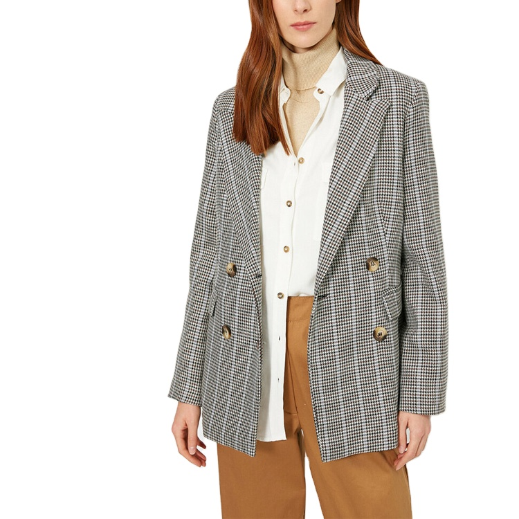 New In Casual Brown Plaid Notched Lapel Tortoise Shell Button Women Oversized Blazer