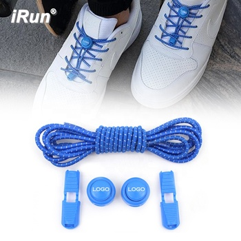 iRun blue Elastic Shoe Laces for Kids and Adults, No Tie Shoelaces with Elastic Cord Clips for Sneakers