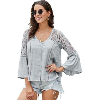 Fashion Women Tops Summer Sexy Hollow Out Lace Blouse Shirt Ladies Casual Loose White Office Blouses v252296