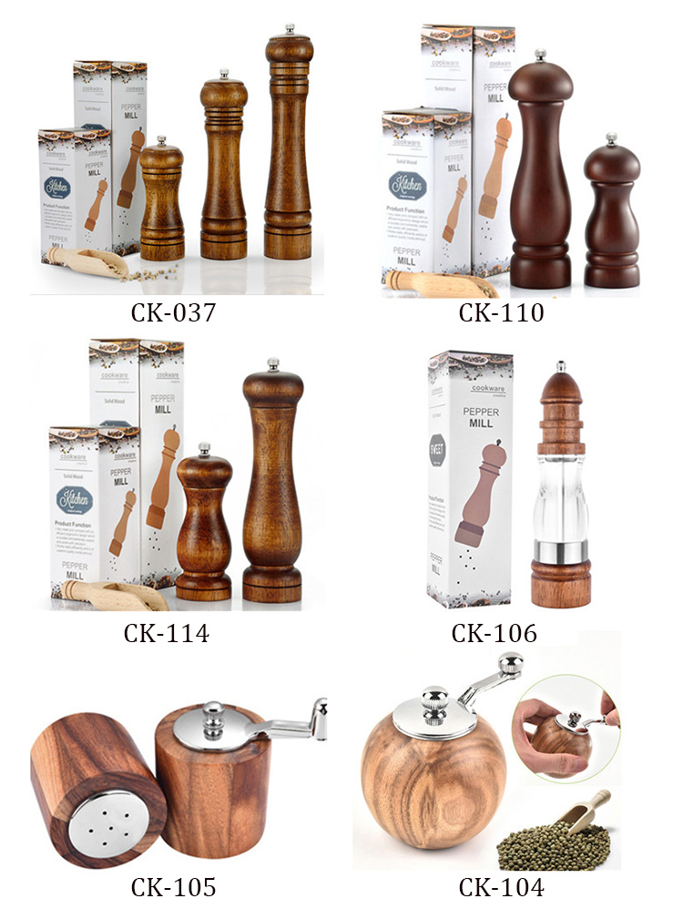 High quality luxury wood mill pepper wooden salt and pepper grinder set