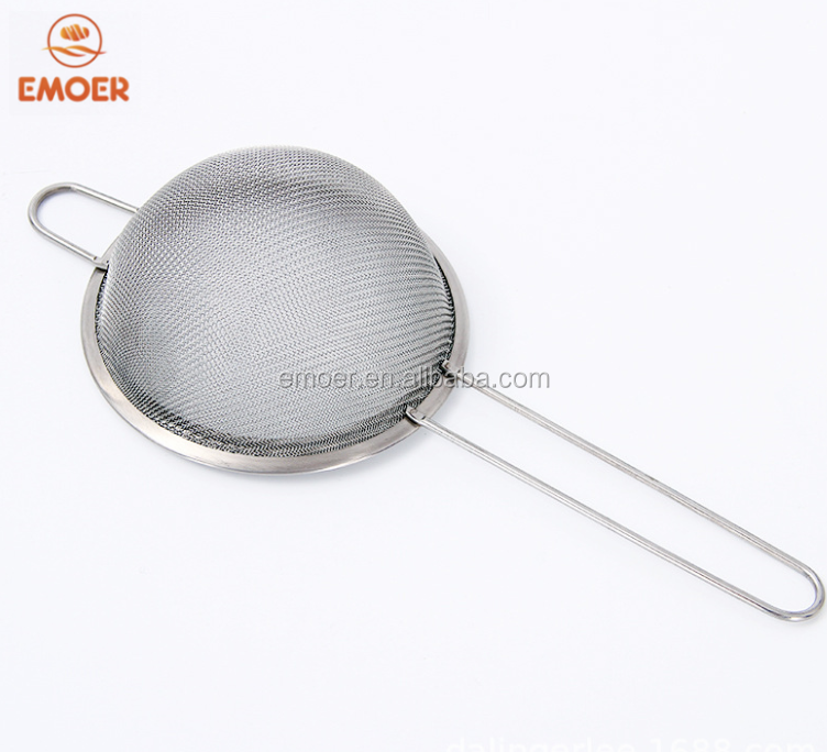 Silver  stainless steel roun  oil grid  strainer set  Hand held filter round mesh strainers