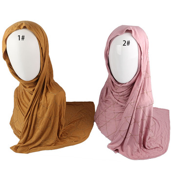 Rhinestone Hotfix Rectangular Rhinestone Jersey Hijab And Scarf With Stones For Muslim Women