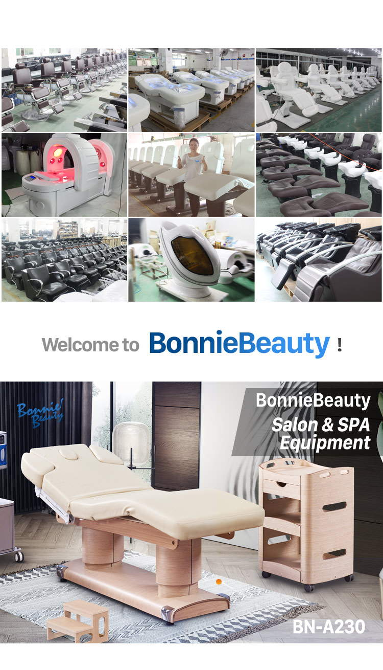 BonnieBeauty electric adjustable spa wooden massage table&facial bed electric treatment chair facial bed