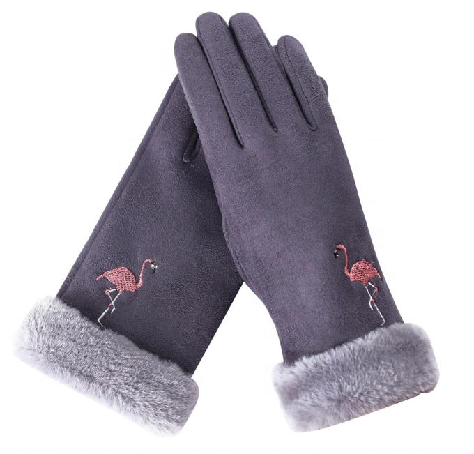 Flamingo Winter Warm Women Suede Fur Gloves