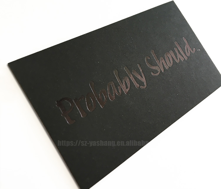 Letterpress name card design black custom business card