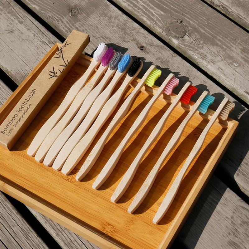 Juego De cepillos De Dientes De bambú mango De ondas De carbón, cerdas duras, herramienta De eliminación De sarro, venta al por mayor, 4 Uds.