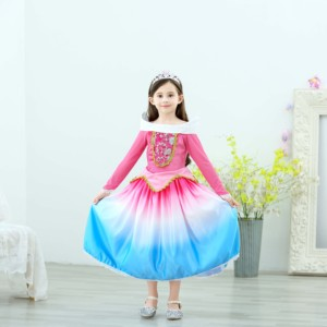 Children girls sleeping beauty princess aurora costume halloween cartoon ball gown dresses for kids