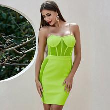 Женское облегающее платье ADYCE, зеленое кружевное Сетчатое платье на тонких бретельках, вечерние платья знаменитостей(Китай)