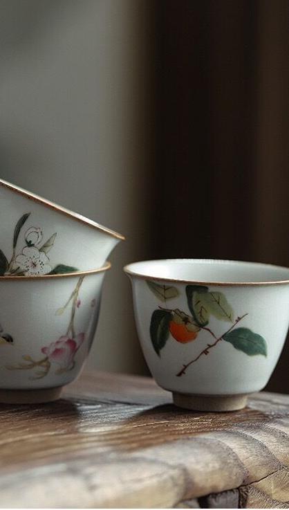 Ruya Trà Cup Antique Trăng Trắng Ru Sứ Mở Có Thể Được Nâng Lên Cốc Trà Lớn