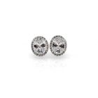 925 Sterling Silver Korean Lady Gemstone Diamond Set Pierced Cz Stud Earring