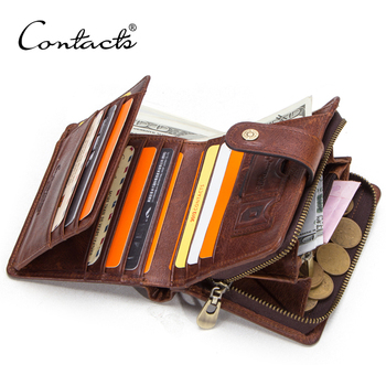 contact's dropship wholesale vintage oil nubuck leather 11 cards slots hidden compartment genuine cow leather wallet men rfid