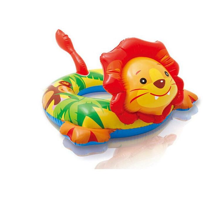 Cartoon Animal Shape Inflatable PVC baby swim seat ring INTEX lion design  swimming ring for kids