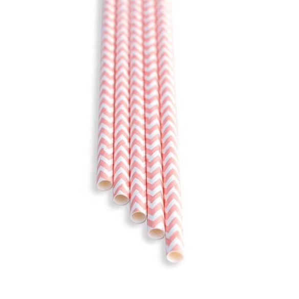 Compostable hot selling pink chevron zig zag paper straw
