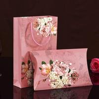 custom kraft wedding gift pillow box chocolate makeup package gifts bag