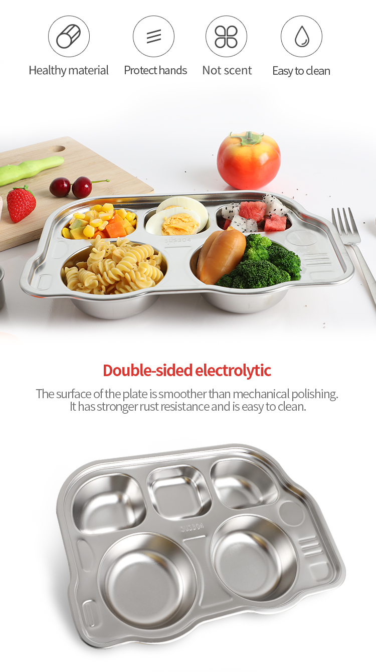 kids toy car model fast food tray bulk dinner plates stainless steel 18/8 durable 5 divided dinner plates
