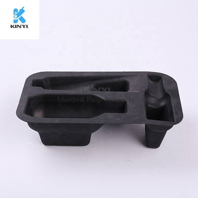 Black Pulp Molded Paper Skincare Packaging Tray Insert