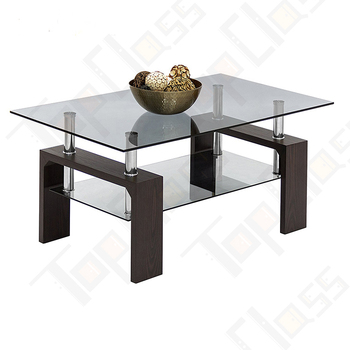New high quality glass with metal black wooden coffee table