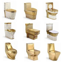 Luxury western bathroom ceramic gold toilet s trap wc toilet