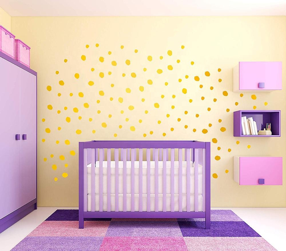 rose gold dot wall stickers - 222 decals vinyl circle easy peel dot wall decals art glitter wall decor Sticker for kids room