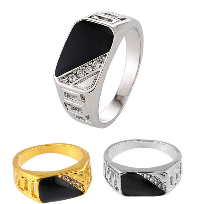 Vintage 3 Colors Plated Alloy Classic Black Enamel Rings Imitation Black Stone Ring