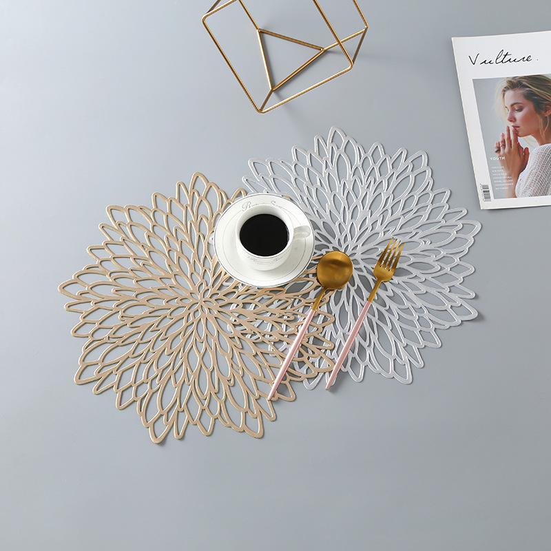 38cm gold wedding decorative flower plastic placemat