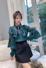Кружевная блузка с оборками, рубашки, женские топы с длинным рукавом, винтажная рубашка с бантом, женский элегантный топ, сексуальная прозра...(Китай)