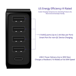 Tronsmart U5P 5-Port USB Charger Quick Charger 60W USB-C Power Delivery Desktop Charger for Samsung Galaxy S9,S9 Plus,iphone x