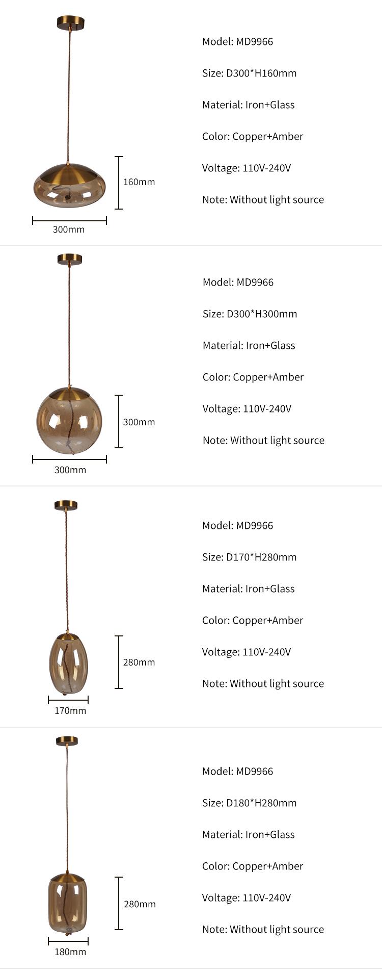 Good Price Modern Vintage copper amber glass lampshade Led Pendant Light