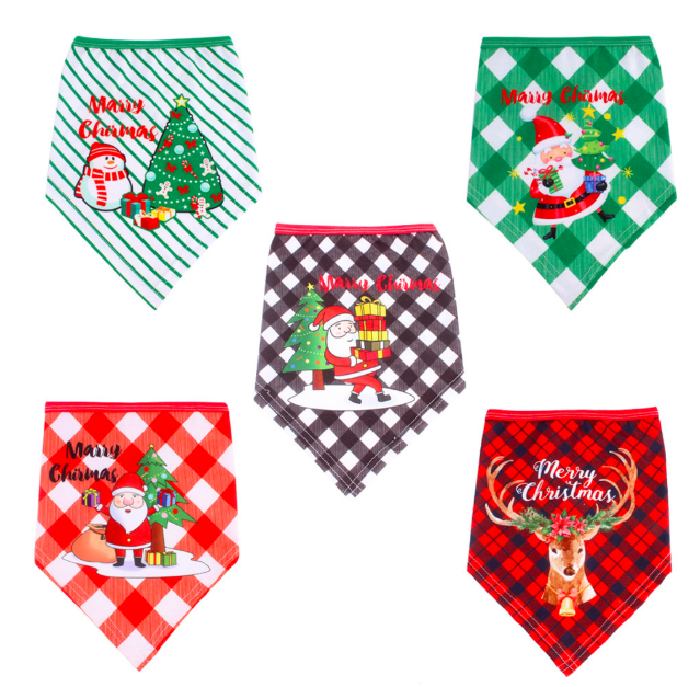 Cotton Plaid Washable Winter Pet Dog Bandanas Scarf Bow Ties Collar Bow Tie Dog Bandana Dog Christmas Accessories