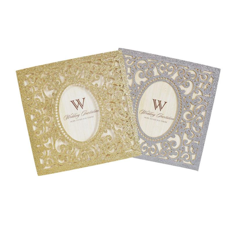 Золотой серебряный блеск свадебные приглашения квадратная открытка для свадебного бизнеса