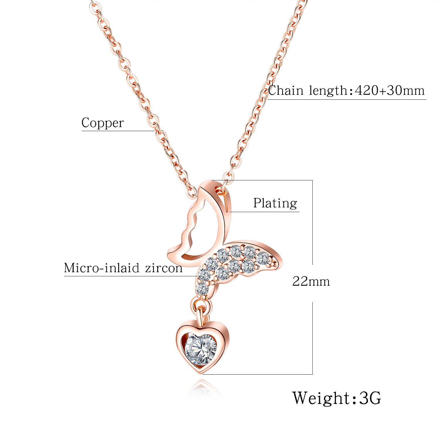 Women Copper Heart Pendant with Butterfly Necklace