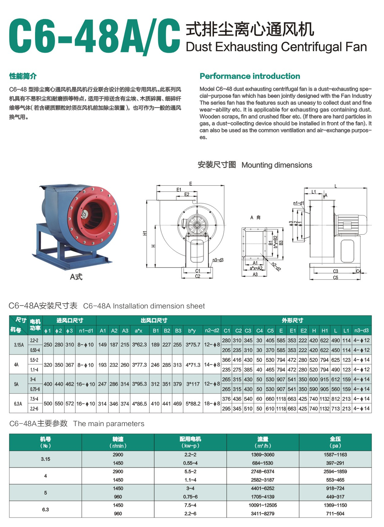 C6-48A/C factory workshop industrial centrifugal dust inflatable blower exhaust extraction fan