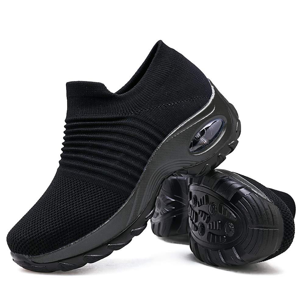 De las mujeres ocasionales luz peso calcetines voladores zapatos de malla plataforma cojín de aire calcetín zapatos zapatillas de deporte