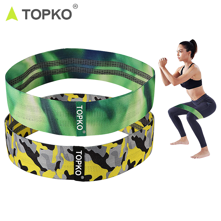 TOPKO Set of 2 custom printed strength training fitness stretch resistance bands cotton hip circle bands