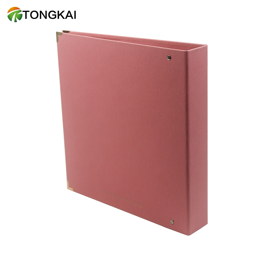 Simple Red PU Leather Business Office Supplies Loose-leaf Binder File Folder With 3 Rings