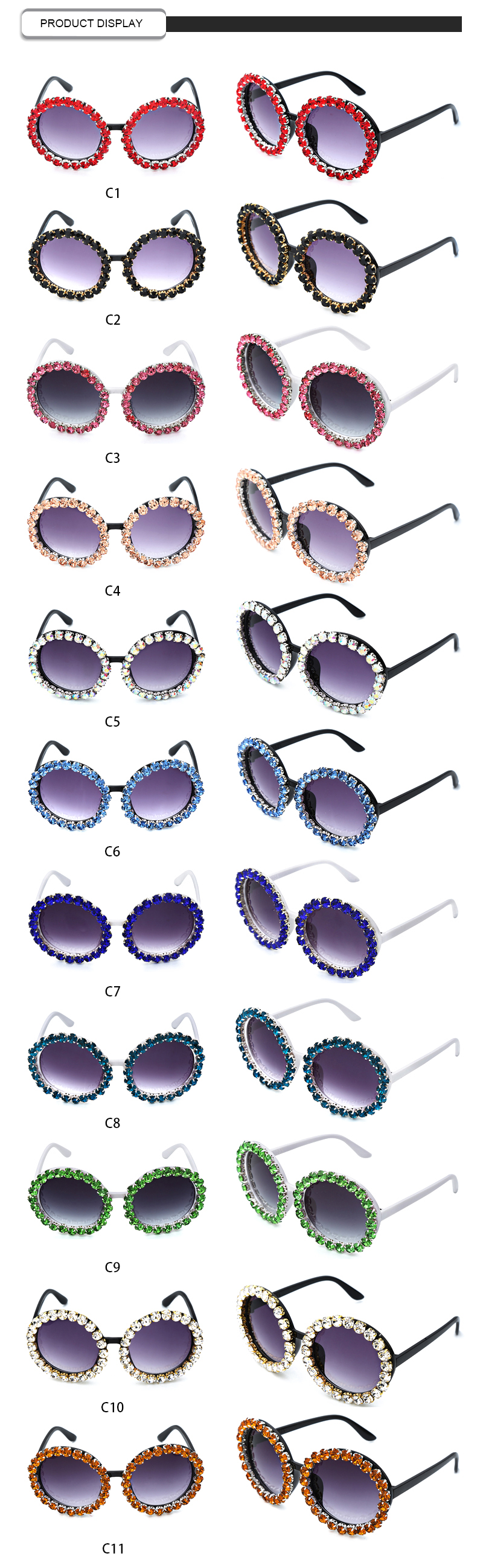 Beautiful Mutli-Color Rhinestone Custom LOGO Women Round Sunglasses