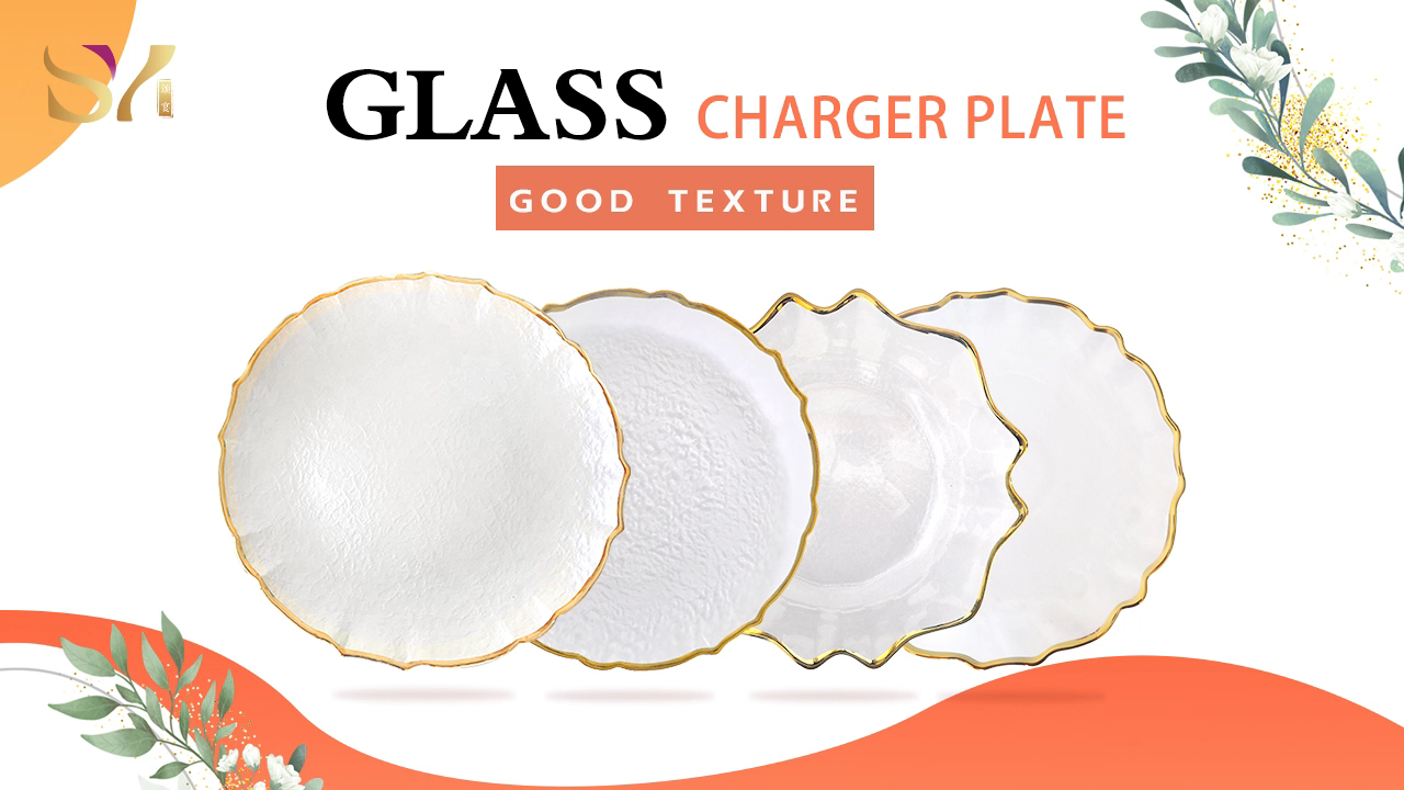 New design restaurant or wedding decor clear fancy glass charger plates with gold rim