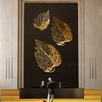 Gold Hollow Leaf Decoration Metal Wall Background Art