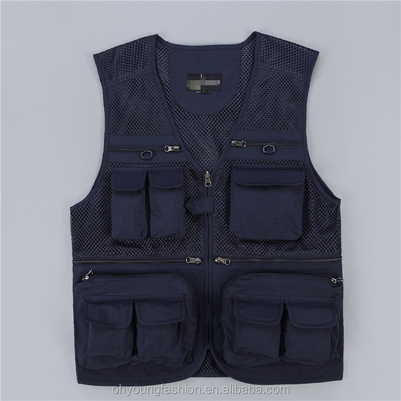 Mens vests & waistcoats multi pockets Taslon vests for climbing shooting photography Hooking fisherman Journalist  Mesh Vest