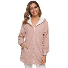 Повседневное женское пальто с длинным рукавом и капюшоном, однотонная верхняя одежда, женская модная куртка, простая осенне-зимняя одежда, ...(Китай)