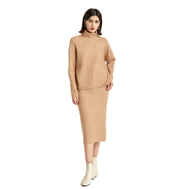 In Stock Women Autumn High Collar Sweater Knit skirt Suit Casual Women's Two-piece Suit