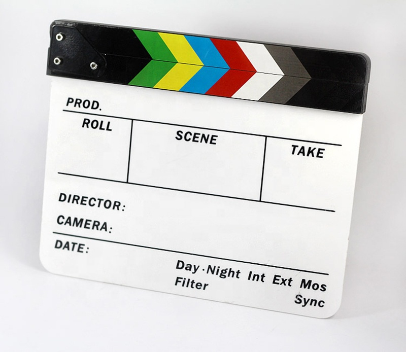 Colorful English Clapperboard Clapper Board Acrylic Dry Erase Director TV Movie Film Action Slate Clap Handmade Cut Black White