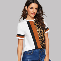 2019 Summer Women White Color Block Cut-and-Sew Leopard Panel Top Short Sleeve Harajuku Punk O-Neck Casual Tshirt Tops Female
