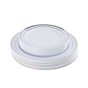 "Plastic disposable silver rim dinner plate 50pcs 7.5"" 50pcs 10.25"""