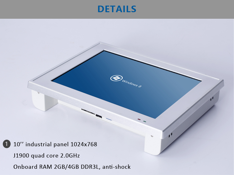 J1900 shockproof DDR3 4GB RAM 10 Inch touch panel industrial pc