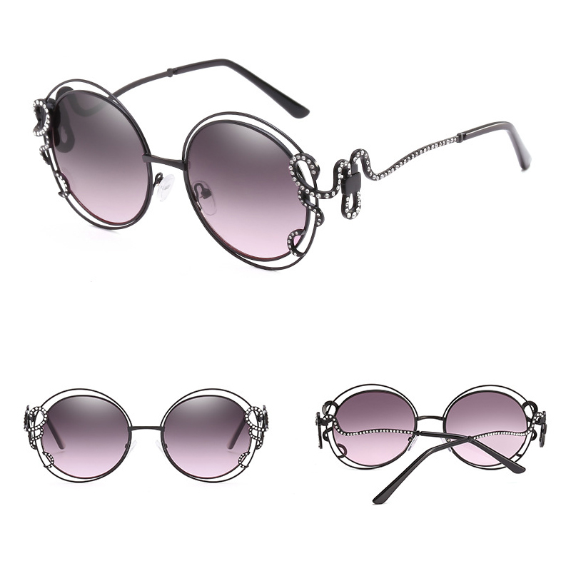 Retro Round Glass OEM Diamond Personality Hollow Shaped Frame Women Sunglasses